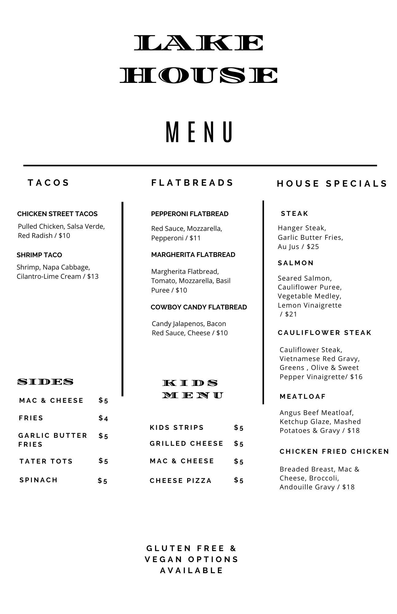 Dinner menu 2 for 6-23
